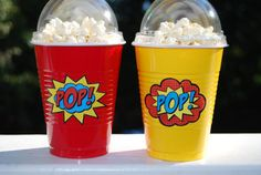 Add these stickers to your popcorn cups and make them really POP! You can choose between PC (primary colors, shown in first photo) or DB (dark Avengers Birthday, Superhero Birthday Party, Boy Birthday, Superhero Treats, Superhero Party Favors, Superman Party, Superman Birthday, Spy Party, Birthday Parties