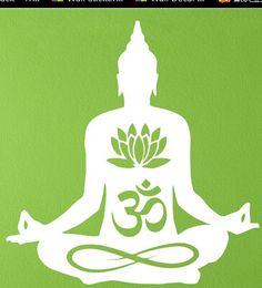 Envío gratis buda Lotus Flower Om Yoga pared del vinilo meditando buda India asiático Room etiqueta de la pared decoración del hogar(China (Mainland))