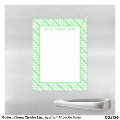 Modern Green Circles Lines Pattern Magnetic Dry Erase Sheet Green Gifts, Office Cabinets, Dry Erase Markers, Photo Magnets, Line Patterns, Simple Shapes, Ring Designs, Green Colors, Circles
