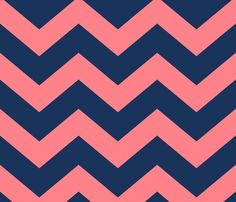 Navy and Coral Chevron