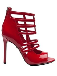 Tania Spinelli Red Patent High Heel Cage Sandal #Shoes #Heels