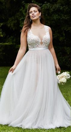 Plus Size Collection :: Boho Deep V-Neck Beach Wedding Dress