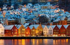 Bergen, Norway this place still stands out in my memory as one of my favorite places. It was so charming & picturesque.  All of Norway that I saw was like this for me.