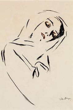 By Kees van Dongen, Portrait de femme au foulard, ink and watercolor on paper.