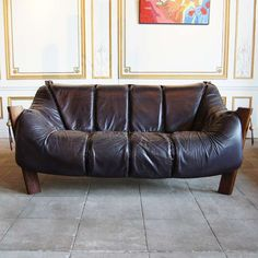 Leather Lounge Sofa by Percival Lafer, Brazil, Circa 1960 | From a unique collection of antique and modern sofas at https://www.1stdibs.com/furniture/seating/sofas/