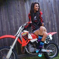 Socks on point.now about this bike Motocross Photography, Bike Photography, Lady Biker, Biker Girl, Honda Dirt Bike, Motocross Girls, Chicks On Bikes, Motorbike Girl, Dirt Bike Girl