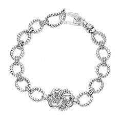 83b530241 Love Knot collection sterling silver link bracelet detailing a highly  polished and Caviar beaded love knot