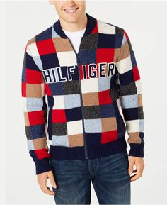 a1cc1a94 Tommy Hilfiger Men's Graph Logo Appliqué Full-Zip Cardigan, Created for  Macy's & Reviews - Sweaters - Men - Macy's