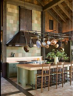 Hanging pots and lights over table - types of pots