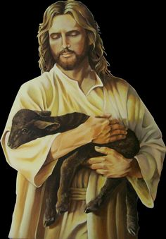 Jesus holding a little black lamb. Prophetic art.
