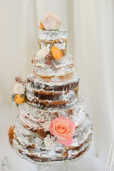 Naked wedding cake  #retro wedding ... Wedding ideas for brides, grooms, parents & planners ... https://itunes.apple.com/us/app/the-gold-wedding-planner/id498112599?ls=1=8 … plus how to organise an entire wedding, without overspending ♥ The Gold Wedding Planner iPhone App ♥