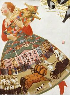 Untitled (girl & doll) by Russian painter Andrey Remnev (b.1976). via Tutt'Art