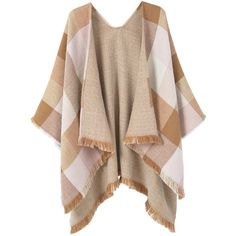 MANGO Check Poncho ($60) ❤ liked on Polyvore featuring outerwear, brown poncho, knit poncho and fringe ponchos