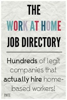 Home Job Directory - Ways to Work From Home! The work at home job directory. A five year work-in-progress listing hundreds of…The work at home job directory. A five year work-in-progress listing hundreds of… Earn Money From Home, Earn Money Online, Online Jobs, Way To Make Money, Earning Money, Money Today, Investing Money, Uk Online, Work From Home Opportunities