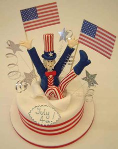 of July cake - Uncle Sam jumps out of a cake 4th Of July Cake, Fourth Of July Food, 4th Of July Celebration, Celebration Cakes, July 4th, Cupcake Cookies, Cupcake Toppers, Cupcakes, Chef Jobs