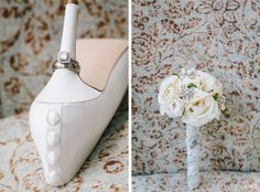 Display your wedding ring on your bridal shoes.