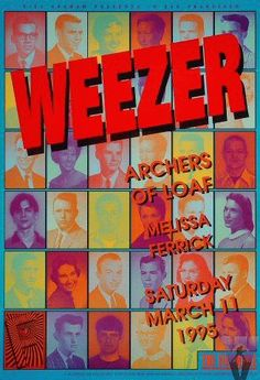 "Original concert poster for Weezer at the Fillmore in San Francisco, CA. 13""x19"" on card stock. Art by Eric Marshall. F180"