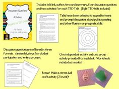 Discussion Questions and Activities inspired by TED Talks. Perfect for middle/high school fluency and social skills groups!