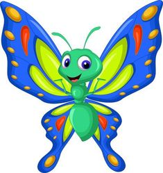 Illustration of Cute butterfly cartoon waving vector art, clipart and stock vectors. Illustration Papillon, Butterfly Illustration, Butterfly Drawing, Cute Butterfly, Cartoon Kunst, Cartoon Art, Butterfly Cartoon Images, Free Cartoon Images, Hand Crafts For Kids