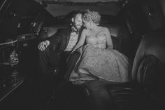 Matt Shumate Photography at Glover Mansion sweet final moment between Bride and groom leaving the wedding reception in the back of a limo.