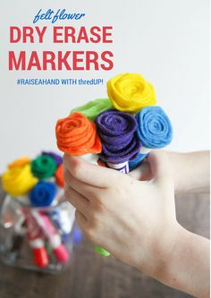Felted Flower Dry Erase Marker Bouquets- what a fun teacher gift idea!