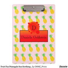 Fruit Fun Pineapple Sun Soothing Monogram Clipboard #Onmeprints #Zazzle #Zazzlemade #Zazzlestore #Zazzlestyle #Fruit #Fun #Pineapple #Sun #Soothing #Monogram #Clipboard Clipboard, Office Gifts, Party Hats, School Supplies, Pineapple, Monogram, Sun, Lettering, Fruit