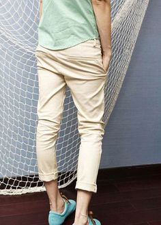 Candy Color Pencil Cotton Light Khaki Pants