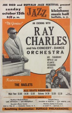 Poster for a Ray Charles concert at the Buffalo Jazz Festival (at the Kleinhans Music Hall) on October 15, 1961.