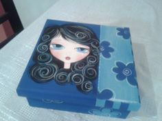 caja azul Painting On Wood, Painting & Drawing, Wood Burning Art, Painted Boxes, Easy Paintings, Folk Art, Stencils, Whimsical, Decorative Boxes