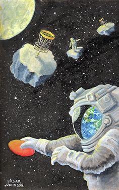 Astronaut Disc Golf by Adam Johnson Gouache on paper