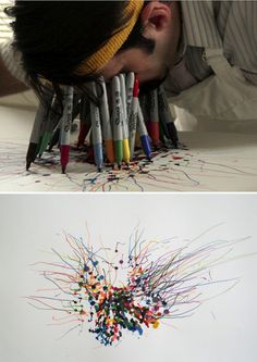 Jared Clark, The Guy Who Draws With His Face Full of Sharpies | 21 Works Of Art For The Office Supply Fetishist In You