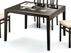 "DomItalia Poker Cappuccino Dining Table - Dining Table with Extension. Dimensions: 47""x 36""x 30""."