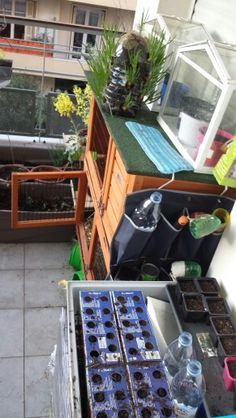 Few cool things old gerbil cage now houses rabbit food etc, with its old tray on top filled with small grow bins made from old capri sun boxes. Also a good use for a shoe hangar thing, now has tools an bits in