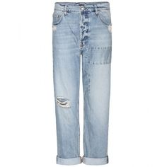 McQ Alexander McQueen Distressed Boyfriend Jeans ($145) ❤ liked on Polyvore featuring jeans, pants, bottoms, denim, blue, distressed boyfriend jeans, destroyed denim jeans, blue ripped jeans, destructed boyfriend jeans and distressed jeans