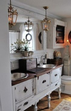 French country decor Bathroom Reveal lighting and vanity French Country Bedrooms, French Country Decorating, French Bathroom, Bathroom Pink, Vanity Bathroom, Bathroom Colors, Small Bathroom, Chic Bathrooms, Country Bathrooms