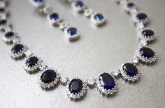 A statement necklace set.