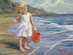 2364 The Tide - Look Out! by Corinne Hartley Oil ~ 12 x 16
