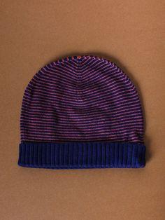 Navy & Orange Cashmere Stripa Hat by Sophia Costas