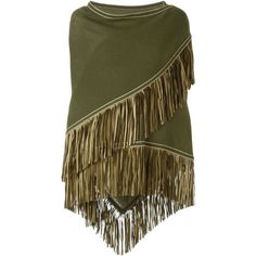 Antonia Zander Fringe Trim Knitted Shawl ($894) ❤ liked on Polyvore featuring accessories, scarves, green, green scarves, fringed shawls, green shawl, shawl scarves and fringe scarves