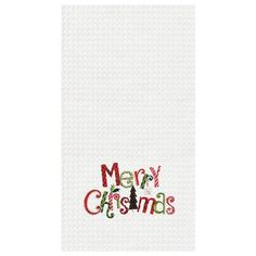C&F Home Merry Christmas Waffle Weave Embroidered Cotton Kitchen Towel Kitchen Towels Crafts, Towel Crafts, Christmas Table Linen, Christmas Towels, Merry Christmas, Pillows Online, Dining Table In Kitchen, Cotton Towels, Linen Pillows