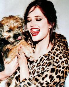 Eva Green, Photography by Ellen von Unwerth with a scrappy terrier...it's like this was grown in a lab to be my favorite thing ever.