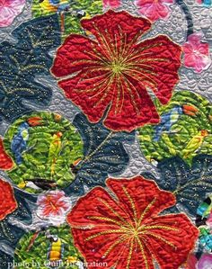 Close up, In My Garden by Phyllis Goffe.  2015 World Quilt Show.  Photo by Quilt Inspiration