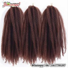 "Afro Kinky Marley Braiding Hair 18"" 100g Bulk Soft Curly Crochet Synthetic Ombre Braind Hair Low Temperature Fiber"