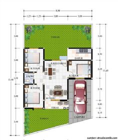 denah rumah 1 lantai ukuran 6x10