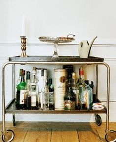 by embracing your inner trolley-dolly for the evening Buffets, Bandeja Bar, Trolley Dolly, Drinks Trolley, Small Bars, Interior, Bar Carts, Trays, Design