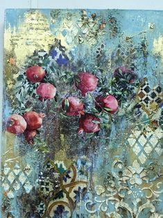Diy Art Projects Canvas, 3d Canvas Art, Texture Painting On Canvas, Mixed Media Canvas, Mixed Media Art, Fruit Painting, Stencil Art, Texture Art, Medium Art