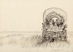 Famed illustrator Garth Williams' original graphite 1953 cover art for Little House on the Prairie   by Laura Ingalls Wilder