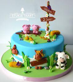 Tractor Birthday Cakes, Baby Boy Birthday Cake, Animal Birthday Cakes, Animal Cakes For Kids, Farm Animal Cakes, Cupcakes, Cupcake Cakes, Dinotrux Cake, Bus Cake