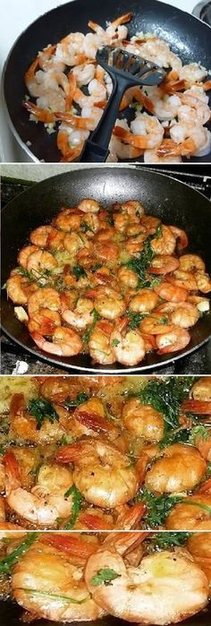 garlic shrimp: kilo of peeled tail-on shrimp 40 grams butter 5 cloves of garlic minced fine 1 t Worcestershire sauce 2 T lemon juice 1 splash white wine Salt and pepper, to taste Fish Recipes, Seafood Recipes, Mexican Food Recipes, Dinner Recipes, Cooking Recipes, Healthy Recipes, Ethnic Recipes, Mexican Dishes, Seafood Dishes