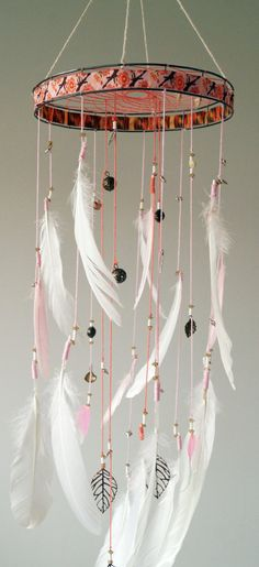 Check out this item in my Etsy shop https://www.etsy.com/uk/listing/265069064/dream-catcher-mobile-pastel-pink-white